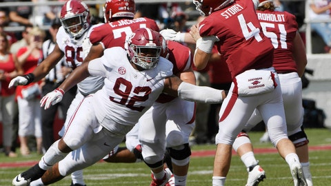 """<p>               FILE - In this Oct. 6, 2018, file photo, Alabama defensive lineman Quinnen Williams puts the pressure on Arkansas quarterback Ty Storey in the second half of an NCAA college football game, in Fayetteville, Ark. The guys who have to block Quinnen Williams in practice aren't the least bit surprised by his success on Alabama's defensive line. Williams has emerged as a dominant force for the top-ranked Crimson Tide at nose guard, doing in games what he has often done in practice. """"I think we're honestly a little relieved as an (offensive) line that we're like, 'OK, no one else can block him either,'"""" Alabama left tackle Jonah Williams said. (AP Photo/Michael Woods, File)             </p>"""