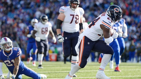 <p>               Chicago Bears running back Jordan Howard (24) rushes past Buffalo Bills free safety Jordan Poyer (21) to score a touchdown during the first half of an NFL football game Sunday, Nov. 4, 2018, in Orchard Park, N.Y. (AP Photo/Adrian Kraus)             </p>