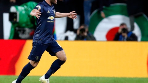 <p>               ManU midfielder Juan Mata celebrates after scoring his side's opening goal during the Champions League group H soccer match between Juventus and Manchester United at the Allianz stadium in Turin, Italy, Wednesday, Nov. 7, 2018. (AP Photo/Antonio Calanni)             </p>