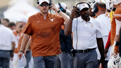 <p>               FILE - In this Oct. 13, 2018, file photo, Texas head coach Tom Herman during the second half of an NCAA college football game against Baylor in Austin, Texas. Texas faces Texas Tech on Saturday, and now most likely has to win its last three games and get some help to get into the Big 12 championship game. (AP Photo/Eric Gay, File)             </p>