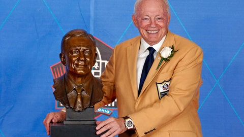 """<p>               FILE - In this Aug. 5, 2017, file photo, NFL team owner Jerry Jones poses with a bust of himself during induction ceremonies at the Pro Football Hall of Fame, in Canton, Ohio. Gary Myers has covered Jerry Jones longer than any pro football writer, so it seemed logical and natural to write a book about the owner of the most valuable franchise in the world. """"How 'Bout Them Cowboys?"""" (Grand Central Publishing) is an in-depth look at America's Team, still the most popular in the NFL even though it hasn't reached a Super Bowl in 23 years and isn't likely to this season. (AP Photo/Gene J. Puskar, File)             </p>"""