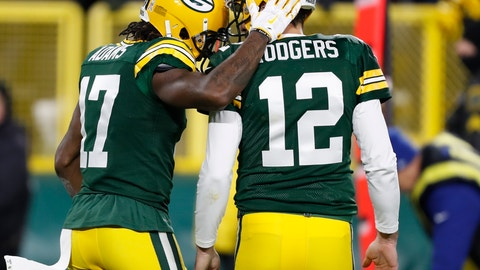 <p>               Green Bay Packers' Davante Adams celebrates his touchdown catch with Aaron Rodgers during the second half of an NFL football game against the Miami Dolphins Sunday, Nov. 11, 2018, in Green Bay, Wis. (AP Photo/Matt Ludtke)             </p>
