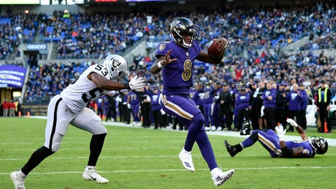<p>               Baltimore Ravens quarterback Lamar Jackson (8) scores a touchdown in front of Oakland Raiders linebacker Jason Cabinda in the second half of an NFL football game, Sunday, Nov. 25, 2018, in Baltimore. (AP Photo/Nick Wass)             </p>