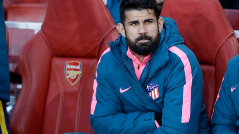 <p>               FILE - In this Thursday, April 26, 2018 file photo, Altetico's Diego Costa sits on the bench before the Europa League semifinal first leg soccer match between Arsenal FC and Atletico Madrid at Emirates Stadium in London. Costa hasn't scored in the Spanish league this season, and he will be under even more pressure to end that slump when Atletico Madrid hosts Barcelona on Saturday Nov. 24, 2018 with the Liga lead on the line. (AP Photo/Matt Dunham, File)             </p>