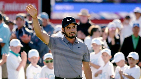 <p>               Abraham Ancer of Mexico waves after winning the Australian Open Golf tournament in Sydney, Sunday, Nov. 18, 2018. (AP Photo/Rick Rycroft)             </p>