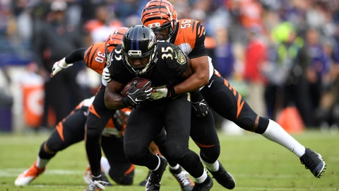 <p>               Baltimore Ravens running back Gus Edwards (35) tries to break free of Cincinnati Bengals middle linebacker Hardy Nickerson as he rushes the ball in the second half of an NFL football game, Sunday, Nov. 18, 2018, in Baltimore. (AP Photo/Nick Wass)             </p>