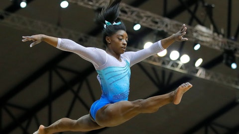 <p>               Simone Biles of the U.S. performs on the balance beam during the Women's All-Around Final of the Gymnastics World Chamionships at the Aspire Dome in Doha, Qatar, Thursday, Nov. 1, 2018. (AP Photo/Vadim Ghirda)             </p>