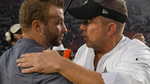 "<p>               FILE - In this Nov. 26, 2017, file photo, Los Angeles Rams coach Sean McVay, left, greets New Orleans Saints coach Sean Payton after an NFL football game in Los Angeles. ""I am a huge fan of Sean's and I have gotten to know him and have a ton of respect for what he has done going on his second year,"" Payton said of McVay, adding that he ""absolutely"" makes a point of watching the Rams throughout the season. The teams meet again this week. (AP Photo/Mark J. Terrill, File)             </p>"