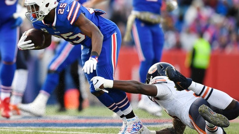<p>               Buffalo Bills running back LeSean McCoy (25) is tackled by Chicago Bears' Roquan Smith (58) during the second half of an NFL football game Sunday, Nov. 4, 2018, in Orchard Park, N.Y. (AP Photo/Adrian Kraus)             </p>