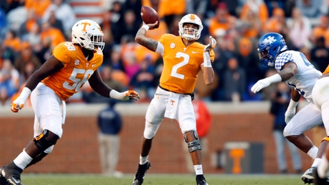 <p>               FILE -- In this Nov. 10, 2018, file photo, Tennessee quarterback Jarrett Guarantano (2) passes against Kentucky during an NCAA college football game in Knoxville, Tenn. Guarantano has thrown a school-record 146 consecutive passes without an interception. His growing confidence has helped Tennessee move one win away from bowl eligibility a year after a 4-8 season. Tennessee can become bowl eligible Saturday by beating Missouri in its home finale. (AP Photo/Wade Payne, File)             </p>