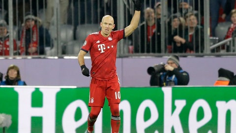 <p>               Bayern midfielder Arjen Robben celebrates after scoring the opening goal during the Champions League group E soccer match between FC Bayern Munich and Benfica Lisbon in Munich, Germany, Tuesday, Nov. 27, 2018. (AP Photo/Matthias Schrader)             </p>