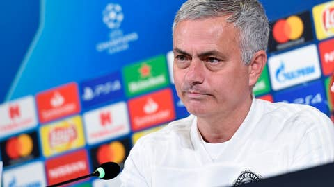 <p>               Manchester United coach Jose' Mourinho attends a press conference on the eve of the Champions League group H soccer match against Juventus, in Turin, Italy, Tuesday, Nov. 6, 2018 (Alessandro Di Marco/ANSA via AP)             </p>