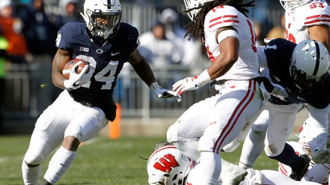 <p>               Penn State's Miles Sanders (24) runs the ball against Wisconsin during the first half of an NCAA college football game in State College, Pa., Saturday, Nov. 10, 2018. (AP Photo/Chris Knight)             </p>