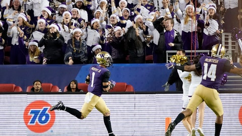 <p>               Washington defensive back Byron Murphy (1) returns an interception for a touchdown against Utah during the second half of the Pac-12 Conference championship NCAA college football game in Santa Clara, Calif., Friday, Nov. 30, 2018. (AP Photo/Tony Avelar)             </p>