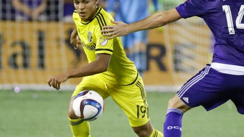 <p>               FILE - In this June 30, 2015, file photo, then-Columbus Crew midfielder Romain Gall (19) moves the ball past Orlando City defender Luke Boden (14) during the second half of an MLS soccer game, in Orlando, Fla. Gall took an unusual path in his soccer career, leaving the United States to play for a third-division Swedish team in a city of 32,000 and moving into the house of the club's chairman. The 23-year-old midfielder could make his American national debut Thursday against England at Wembley. (AP Photo/John Raoux, File)             </p>