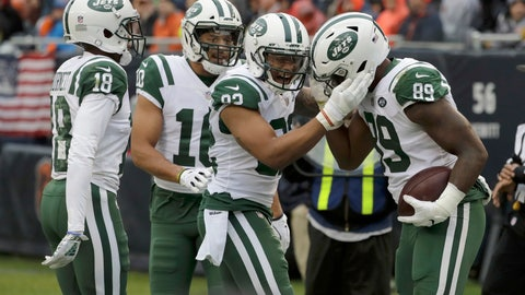 <p>               FILE - In this Sunday, Oct. 28, 2018, file photo, New York Jets tight end Chris Herndon (89) celebrates a touchdown reception with his teammates during the second half of an NFL football game against the Chicago Bears in Chicago. Herndon is not the superstitious type. So, he's totally fine with talking about his three-game touchdown streak. But, the Jets' rookie tight end would rather be chatting about something else, though, winning., (AP Photo/Nam Y. Huh, File)             </p>