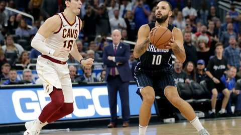 <p>               Orlando Magic's Evan Fournier (10) prepares to go up for a shot just before the buzzer as Cleveland Cavaliers' Cedi Osman, left, tries to defend as Orlando defeated Cleveland in an NBA basketball game, Monday, Nov. 5, 2018, in Orlando, Fla. (AP Photo/John Raoux)             </p>