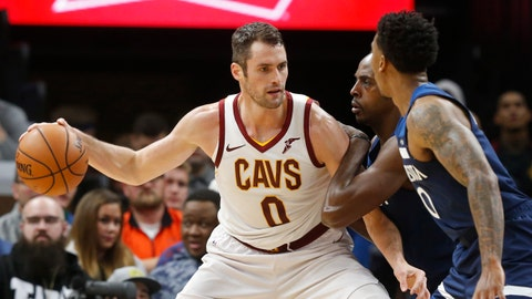 "<p>               FILE - In this Friday, Oct. 19, 2018 file photo, Cleveland Cavaliers' Kevin Love, left, is double-teamed by Minnesota Timberwolves' Anthony Tolliver and Jeff Teague, right, in the first half of an NBA basketball game in Minneapolis. Cavaliers All-Star forward Kevin Love may not be back until sometime in 2019 following foot surgery. Love had an operation on Nov. 2 to relieve pain and pressure in his big left toe, which he injured in the club's preseason opener. At the time, the team said Love would be out at least six weeks and his status would be updated in ""approximately"" when that period ended. (AP Photo/Jim Mone, File)             </p>"