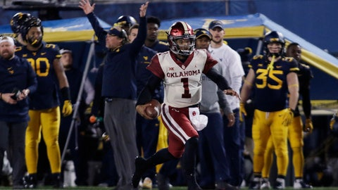 <p>               Oklahoma quarterback Kyler Murray (1) runs the ball for a touchdown during the first half of an NCAA college football game against West Virginia on Friday, Nov. 23, 2018, in Morgantown, W.Va. (AP Photo/Raymond Thompson)             </p>