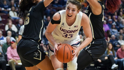 <p>               Connecticut's Katie Lou Samuelson (33) slices between Vanderbilt's Brinae Alexander (15) and Autumn Newby during the first half of an NCAA college basketball game Saturday, Nov. 17, 2018, in Uncasville, Conn. (AP Photo/Stephen Dunn)             </p>