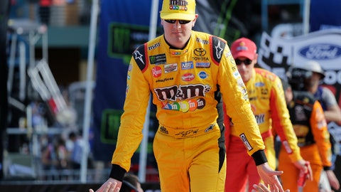 <p>               Kyle Busch is introduced before a NASCAR Cup Series Championship auto race at the Homestead-Miami Speedway, Sunday, Nov. 18, 2018, in Homestead, Fla. (AP Photo/Terry Renna)             </p>