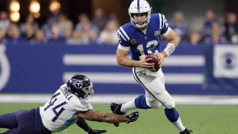 <p>               Indianapolis Colts quarterback Andrew Luck (12) runs past Tennessee Titans' Kamalei Correa (44) during the second half of an NFL football game, Sunday, Nov. 18, 2018, in Indianapolis. (AP Photo/Michael Conroy)             </p>