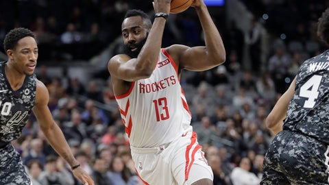 <p>               Houston Rockets guard James Harden (13) drives around San Antonio Spurs guard DeMar DeRozan (10) during the first half of an NBA basketball game, Saturday, Nov. 10, 2018, in San Antonio. (AP Photo/Eric Gay)             </p>
