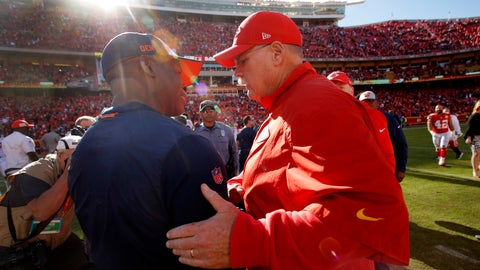 <p>               Kansas City Chiefs head coach Andy Reid, right, and Denver Broncos head coach Vance Joseph greet each other after their NFL football game Sunday, Oct. 28, 2018, in Kansas City, Mo. (AP Photo/Charlie Riedel)             </p>