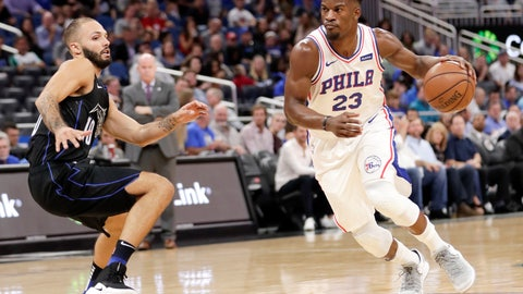 <p>               Philadelphia 76ers' Jimmy Butler (23) drives past Orlando Magic's Evan Fournier during the first half of an NBA basketball game Wednesday, Nov. 14, 2018, in Orlando, Fla. (AP Photo/John Raoux)             </p>