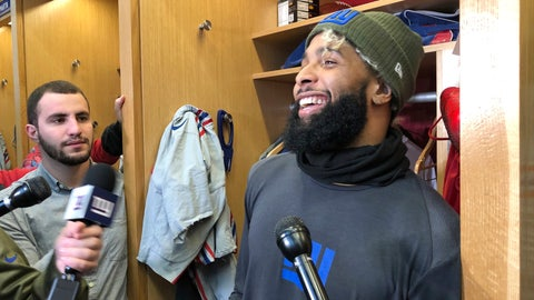 <p>               New York Giants wide receiver Odell Beckham Jr. speaks with reporters Thursday, Dec. 29, 2018, in East Rutherford, N.J. The Giants host the Chicago Bears on Sunday.  (AP Photo/Tom Canavan)             </p>