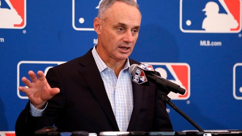 <p>               FILE - In this Nov. 16, 2017, file photo, baseball Commissioner Rob Manfred speaks during a news conference at the annual MLB owners meetings in Orlando, Fla. A person familiar with the agenda tells The Associated Press that owners plan to vote on a new term for Manfred, a new television contract with Fox and an agreement for in-game cut-ins with the subscription video streaming service DAZN when they meet next week in Atlanta. (AP Photo/John Raoux, File)             </p>