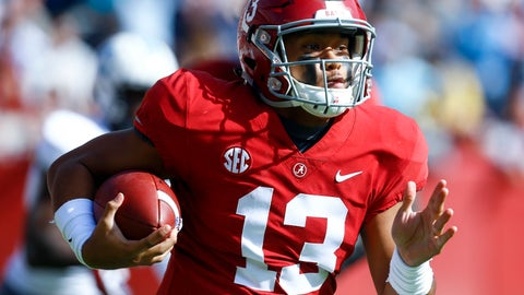 <p>               Alabama quarterback Tua Tagovailoa (13) carries the ball during the first half of an NCAA college football game against Citadel, Saturday, Nov. 17, 2018, in Tuscaloosa, Ala. (AP Photo/Butch Dill)             </p>