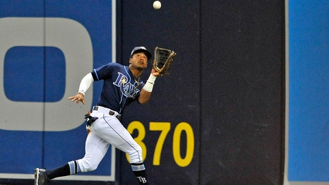 <p>               FILE - In this Sept. 29, 2018, file photo, Tampa Bay Rays center fielder Mallex Smith makes a running catch on a fly ball hit by Toronto Blue Jays' Jon Berti during the fifth inning of a baseball game in St. Petersburg, Fla. Speedy outfielder and leadoff hitter Mallex Smith has been acquired by the Seattle Mariners from the Tampa Bay Rays for catcher Mike Zunino and outfielder Guillermo Heredia as part of a five-player deal. (AP Photo/Steve Nesius, File)             </p>