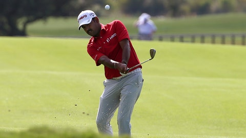 <p>               Anirban Lahiri of India plays from the 17th fairway during the Australian Open Golf tournament in Sydney, Thursday, Nov. 15, 2018. (AP Photo/Rick Rycroft)             </p>