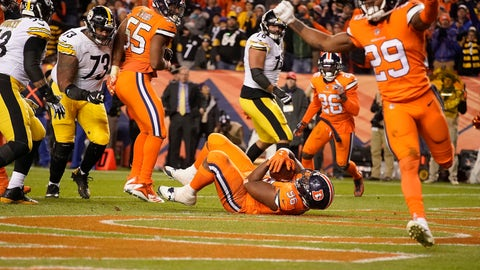 <p>               Denver Broncos defensive end Shelby Harris (96) intercepts a pass in the end zone against the Pittsburgh Steelers during the second half of an NFL football game, Sunday, Nov. 25, 2018, in Denver. The Broncos won 24-17. (AP Photo/Jack Dempsey)             </p>