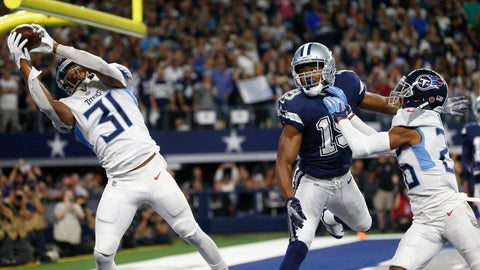 <p>               FILE - In this Monday, Nov. 5, 2018, file photo, Tennessee Titans free safety Kevin Byard (31) intercepts a pass intended for Dallas Cowboys wide receiver Amari Cooper (19) during the first half of an NFL football game in Arlington, Texas. The NFL fined Byard $10,026 for his dance celebration on the Cowboys star logo following an end zone interception in Monday's game. But Byard said Friday the fine was actually worth it to him, because it helped to change momentum, denying the Cowboys a possible touchdown in what eventually was a 28-14 Titans victory. (AP Photo/Michael Ainsworth, File)             </p>