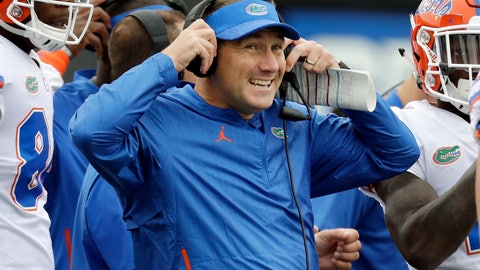 <p>               FILE - In this Oct. 13, 2018 file photo, Florida head coach Dan Mullen watches from the sideline in the first half of an NCAA college football game against Vanderbilt in Nashville, Tenn. Florida's postseason possibilities are promising, especially after finishing 4-7 last year, losing consecutive games by a combined 40 points in the last month and needing two of the largest comebacks in school history to beat Vanderbilt and South Carolina. The 15th-ranked Gators likely would land a spot in a New Year's Six bowl with victories against Idaho and rival Florida State.(AP Photo/Mark Humphrey, File)             </p>