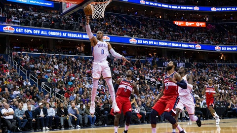 <p>               Oklahoma City Thunder guard Russell Westbrook (0) goes for a layup past Washington Wizards guard John Wall (2) and forward Markieff Morris (5) during the first half of an NBA basketball game Friday, Nov. 2, 2018, in Washington. (AP Photo/Al Drago)             </p>