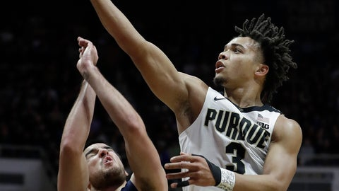 <p>               Purdue's Carsen Edwards, right, shoots over Robert Morris's Matty McConnell, left, during the second half of an NCAA college basketball game, Friday, Nov. 23, 2018, in West Lafayette, Ind. Purdue won 84-46. (AP Photo/Darron Cummings)             </p>