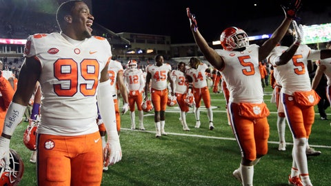 <p>               Clemson defensive end Clelin Ferrell (99) and teammates celebrate their 27-7 victory over Boston College in an NCAA college football game Saturday, Nov. 10, 2018, in Boston. (AP Photo/Elise Amendola)             </p>