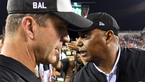 <p>               FILE - In this Sept. 13, 2018, file photo, Cincinnati Bengals head coach Marvin Lewis, right, meets with Baltimore Ravens head coach John Harbaugh, left, after their NFL football game in Cincinnati. The Ravens (4-5) and Bengals (5-4) fully expected to be in a better place entering Sunday's rematch of a Sept. 13 matchup Cincinnati won 34-23. After a 4-2 start, Baltimore has lost three straight. The Bengals, similarly, have dropped four of five after opening 4-1. (AP Photo/Bryan Woolston, File)             </p>