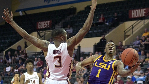 <p>               LSU guard Ja'vonte Smart (1) puts up a shot in front of Florida State guard Trent Forrest (3) during the first half of an NCAA college basketball game Friday, Nov. 23, 2018, in Lake Buena Vista, Fla. (AP Photo/Phelan M. Ebenhack)             </p>
