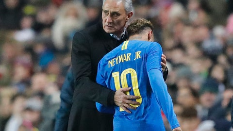<p>               Brazil's manager Tite changes out Brazil's Neymar during the International friendly soccer match between Brazil and Cameroon at MK Stadium in Milton Keynes, England, Tuesday, Nov. 20, 2018 . (AP Photo/Frank Augstein)             </p>