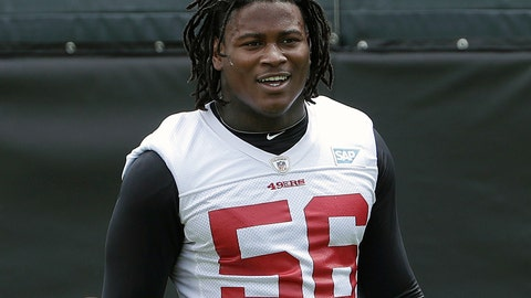 <p>               FILE - In this May 30, 2018, file photo, San Francisco 49ers linebacker Reuben Foster walks on the field during a practice at the team's NFL football training facility in Santa Clara, Calif. Foster was arrested Saturday, Nov. 24, at the team hotel on charges of domestic violence. (AP Photo/Jeff Chiu, File)             </p>