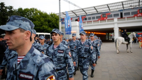 "<p>               FILE - In this June 14, 2018 file photo soldiers march outside the stadium prior to the opening match between Russia and Saudi Arabia during the 2018 soccer World Cup at the Luzhniki stadium in Moscow, Russia. Russia says it thwarted attempted drone attacks at this year's World Cup. The head of Russia's Federal Security Service says his officers ""took measures to detect and foil attempts by terrorists to use drones during the preparation and hosting of various major political and sports events, most of all during the soccer World Cup."" Alexander Bortnikov gave no further details in comments reported by the Tass state news agency. (AP Photo/Rebecca Blackwell, file)             </p>"