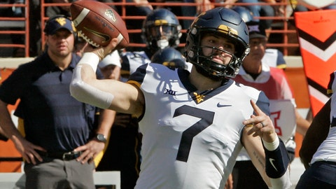 <p>               West Virginia quarterback Will Grier throws the ball during the first half of an NCAA college football game against Texas, Saturday, Nov. 3, 2018, in Austin, Texas. (AP Photo/Michael Thomas)             </p>