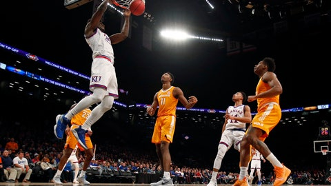 <p>               Kansas center Udoka Azubuike (35) dunks in front of Tennessee forward Kyle Alexander (11) during the first half of an NCAA college basketball game in the NIT Season Tip-Off tournament Friday, Nov. 23, 2018, in New York. (AP Photo/Adam Hunger)             </p>