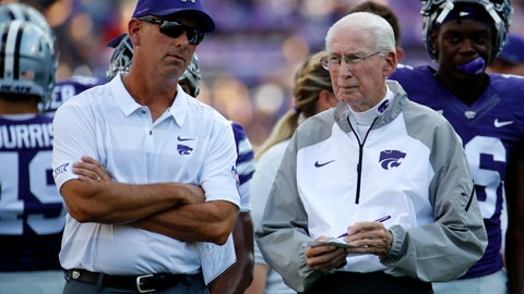 <p>               FILE - In this Sept. 1, 2018, file photo, Kansas State head coach Bill Snyder talks with his son and special teams coordinator Sean Snyder before an NCAA college football game against the South Dakota, in Manhattan, Kan. Snyder said again this week that he will evaluate after the season whether he will return next year, but there has been growing unrest in the program. Many believe that Snyder, who prefers that his son and special teams coordinator Sean eventually replaces him, will retire after this year. The question then becomes whether Snyder will get his wish.(AP Photo/Charlie Riedel, File)             </p>