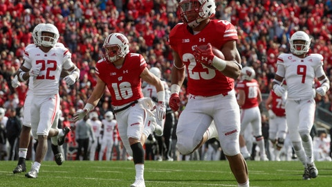 <p>               Wisconsin's Jonathan Taylor runs for a touchdown during the second half of an NCAA college football game against Rutgers Saturday, Nov. 3, 2018, in Madison, Wis. (AP Photo/Morry Gash)             </p>