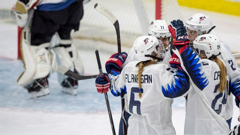 <p>               United States players celebrate a goal against Finland during the second period of a Four Nations Cup women's ice hockey game in Saskatoon, Saskatchewan, Tuesday, Nov. 6, 2018. (Liam Richards/The Canadian Press via AP)             </p>